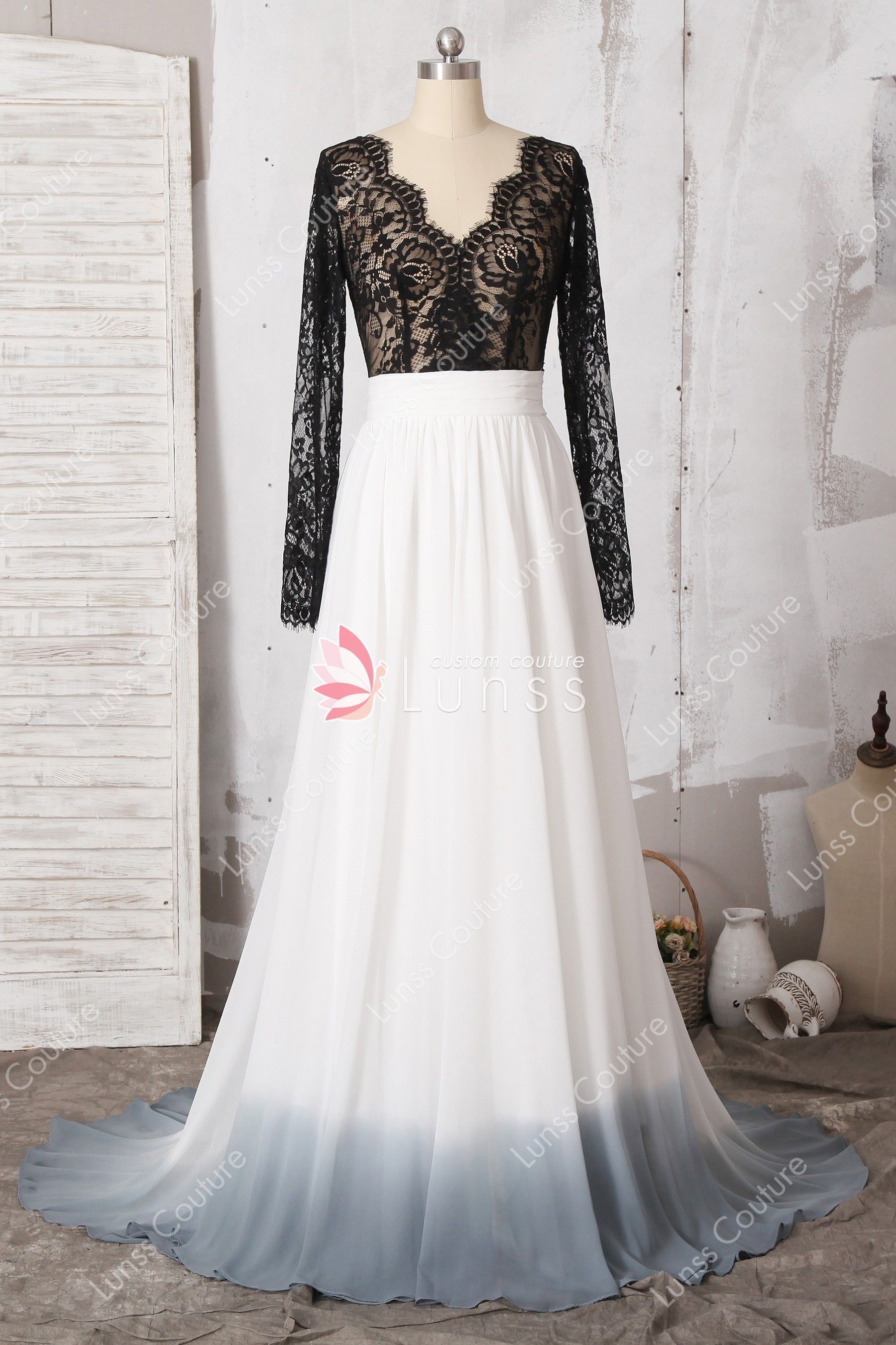 939afc3a33 The illusion black lace bodice features long sleeves, scalloped eyelash V  neckline. The white