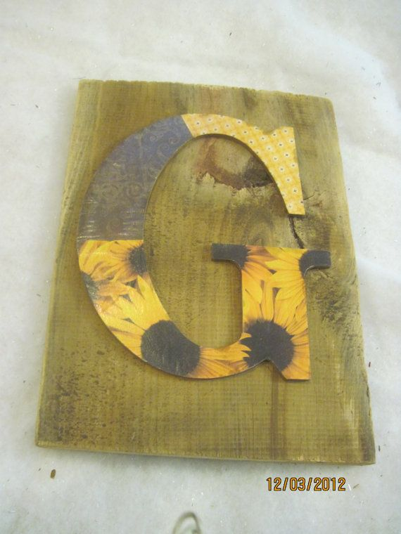G letter shabby rustic wall decor | Letter Inital Wood Decor ...