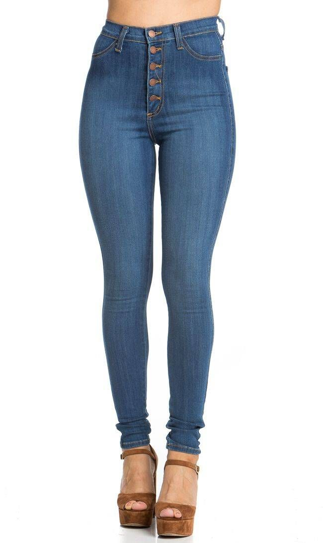5-Button High Waisted Skinny Jeans in Blue in 2019  bfb343edc