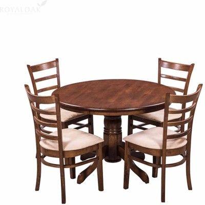 Royaloak Coco Solid Wood 4 Seater Dining Set Finish Color Walnut