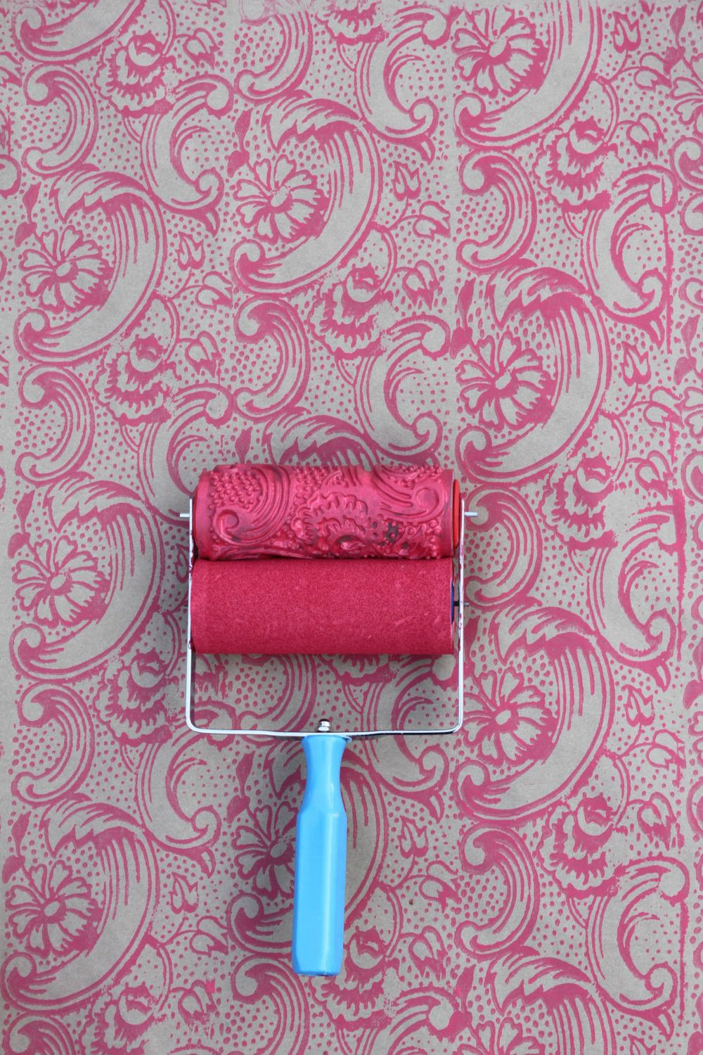 Wallpaper Paint Roller night dahlia patterned paint roller and applicator set | patterned