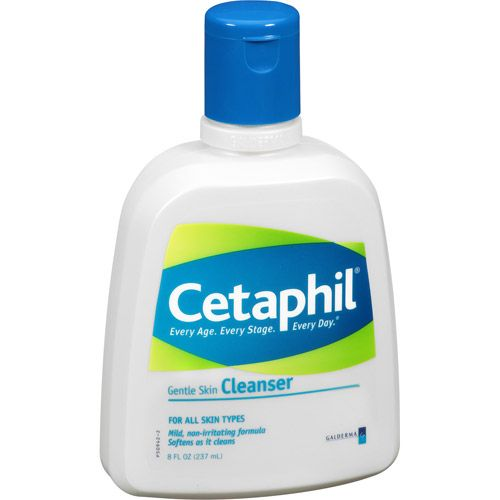 Cetaphil Gentle Skin Cleanser. This is extremely gentle and effective. I put some on a wet washcloth and wash my face and I don't find it necessary to rinse. I have really oily skin and this cleanses my face thoroughly. I love it.