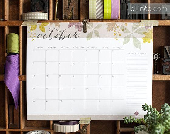 Printable October Calendar Fabulous Freebies Pinterest October
