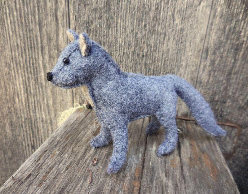 Gray Stuffed Wolf Small Wolf Soft Toy Stuffed Animal Felt