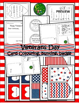 Veterans Day Coloring Card,Badge,Thank you Message, Bunting For Decoration