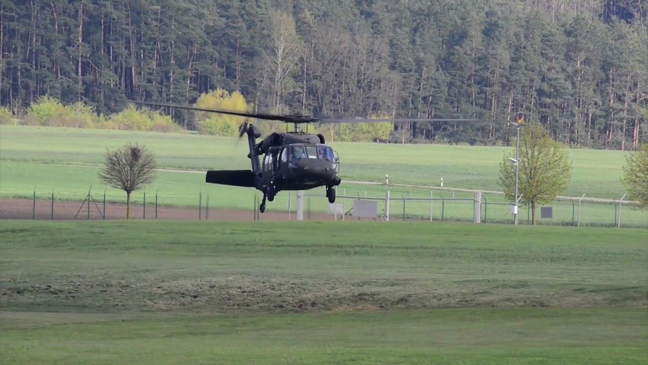 A U.S. Army UH60 Black Hawk helicopter from the 10th