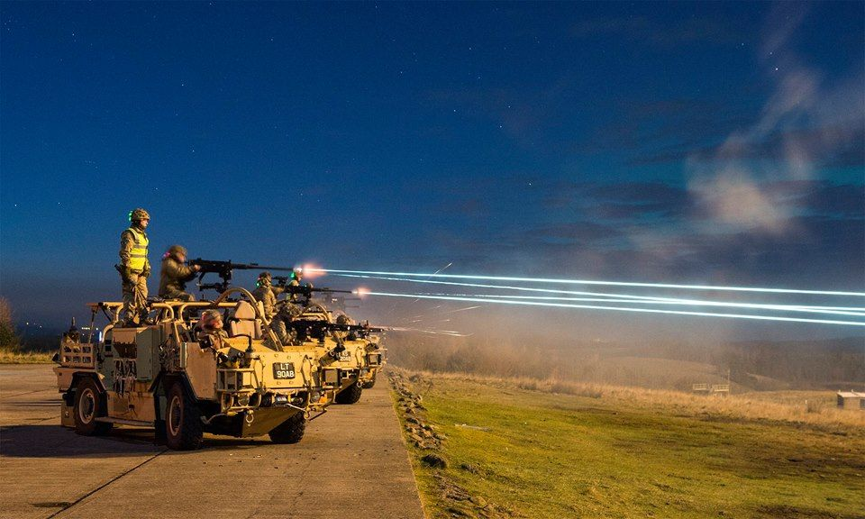 Long exposure of british light dragoons on the ranges
