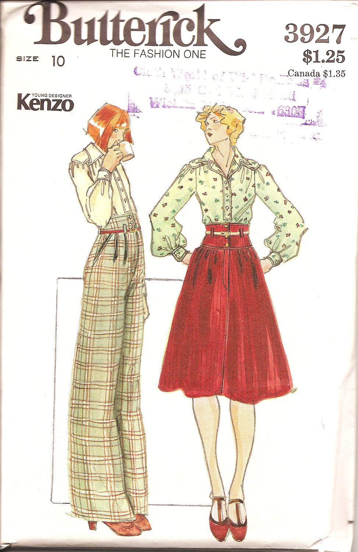 KENZO high waisted skirt pants blouse with YOKES Butterick 3927 size ...