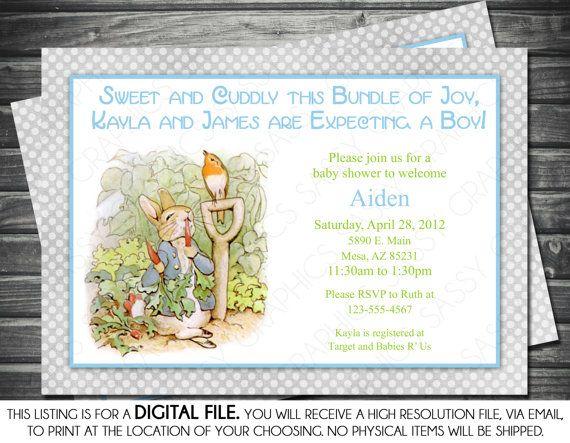 Captivating Peter Rabbit Baby Shower Invitation   Boy Baby Shower Invite Beatrix Potter  Itu0027s A Boy Polka Dots Shabby Chic Gray Blue (Item #7)