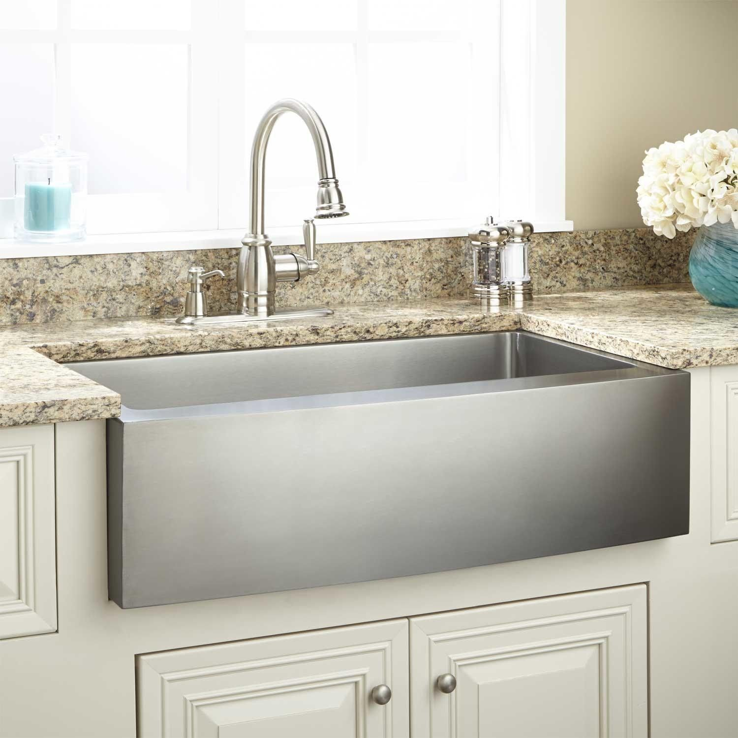 "36"" optimum stainless steel farmhouse sink - curved front matches"
