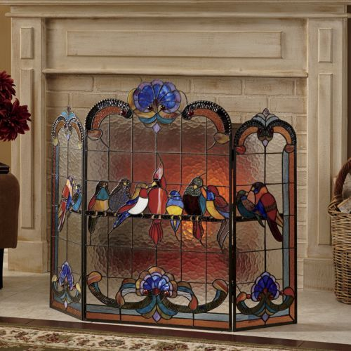 Birds On a Wire Stained Glass Fireplace Screen from ...