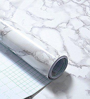 Wdragon Revetement Autocollant En Vinyle Pour Plan De Travail De Cuisine Motif Marbre Blanc Gris 30 5 X 200 Decoration Marbre Adhesif Meuble Revetement Vinyle