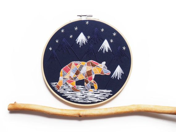 Bear and Mountains Night Geometric Embroidery 8 by AlexsEmbroidery