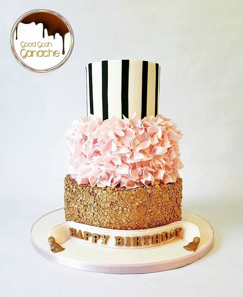 Pink Ruffle Black And White Vertical Stripes Gold Sequins Cake 3 Tier 30th Birthday For