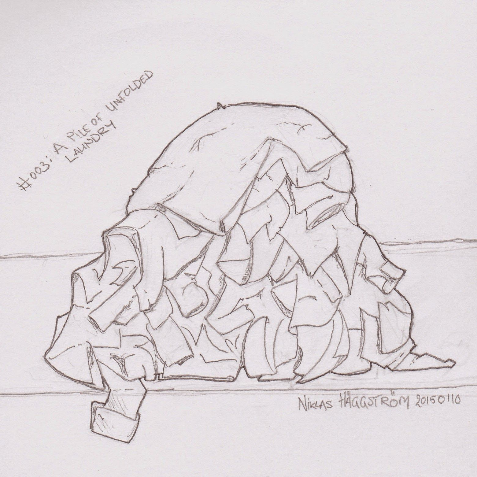 A Programmer S Guide To Tooning Challenge 003 A Pile Of Unfolded Laundry Drawing Sketching Challenge Laundry Laundry Art Sketch Book Drawing Challenge