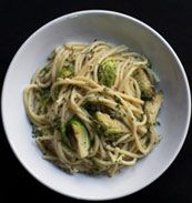 Bucatini with Brussels Sprouts as adapted from Hayan Yi, Corkbuzz Wine Studio by tastingtable: Great with added cauliflower too! #Pasta #Bucatini #Brussel_Sprouts #Cauliflower #Haayam_Yi