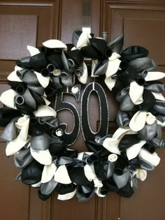 I made a balloon wreath for my mothers 50th birthday party 50th