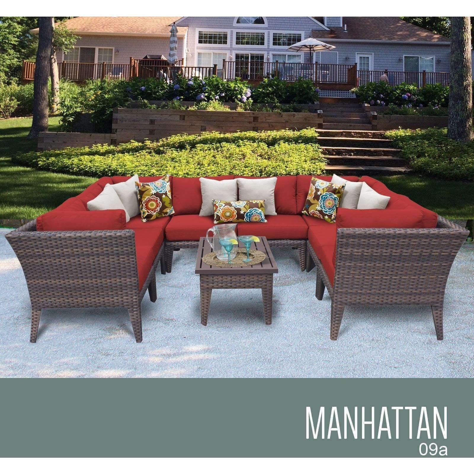 Manhattan 9 Piece Outdoor Wicker Patio Furniture Set 09a
