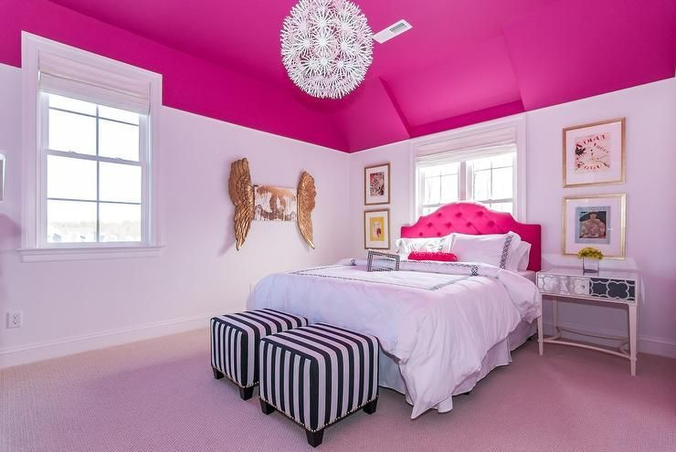 Under A Vaulted Ceiling This Hot Pink And White Girl S Bedroom Stands Out With A Hot Pink Ceiling And Pink Bedroom Decor Pink Bedroom Walls Hot Pink Bedrooms