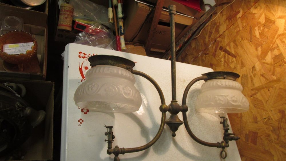Antique 2 Arm Gas Light Fixture Shades Unmarked Gas Lights Light Fixtures Fixtures
