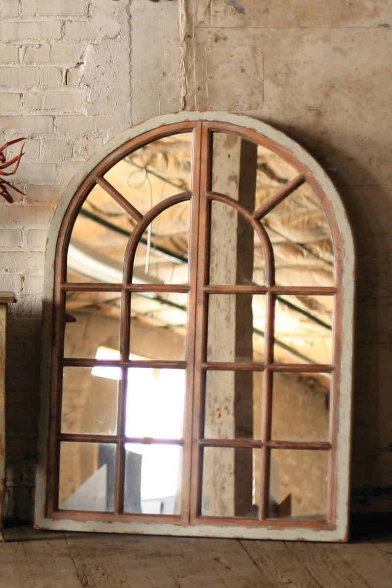 Arched Multi Pane Window Frame Mirror | Coastal ...
