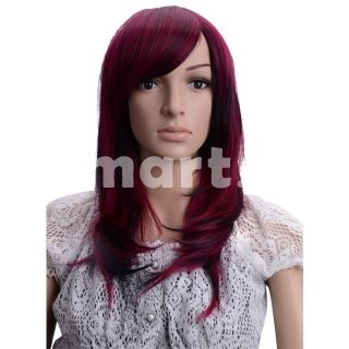 """Love the colour of this wig!  19.68"""" Long Straight High Quality Synthetic Hair Wig Black And Purple Red,"""