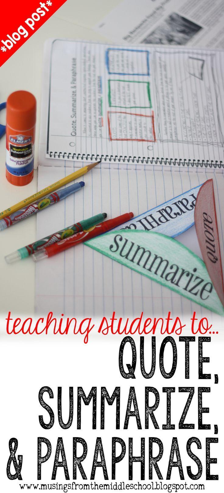 Summarizing Paraphrasing And Quoting Interactive Student Notebook Teaching Language Art Writing Paraphrase Statements Statement