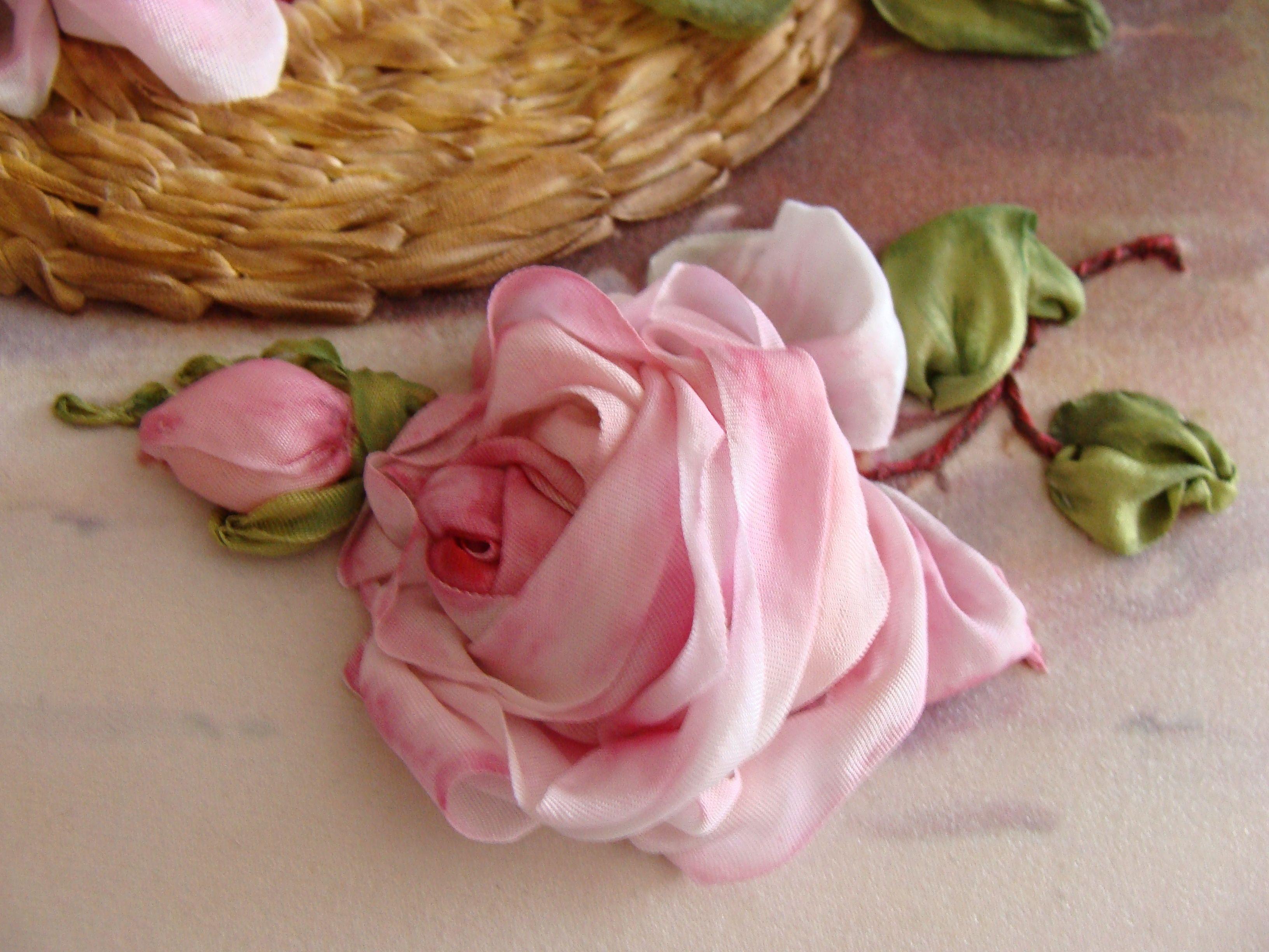 Silk Ribbon Rose By Tatina Popova Of Kiev Ukraine Folding And