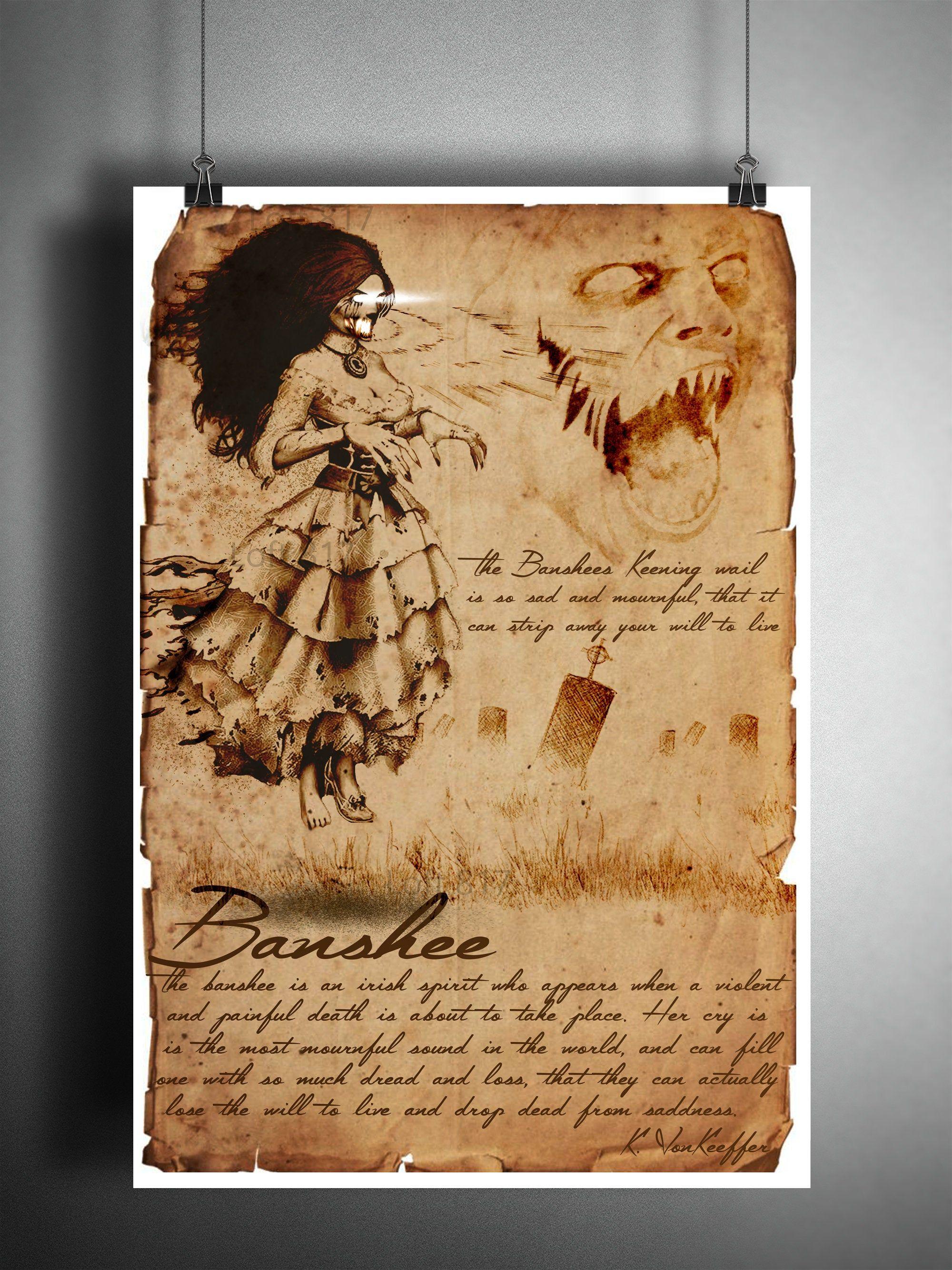 Banshee spirit art sketch, field guide, bestiary art, myths and monsters, creepy art, folklore art