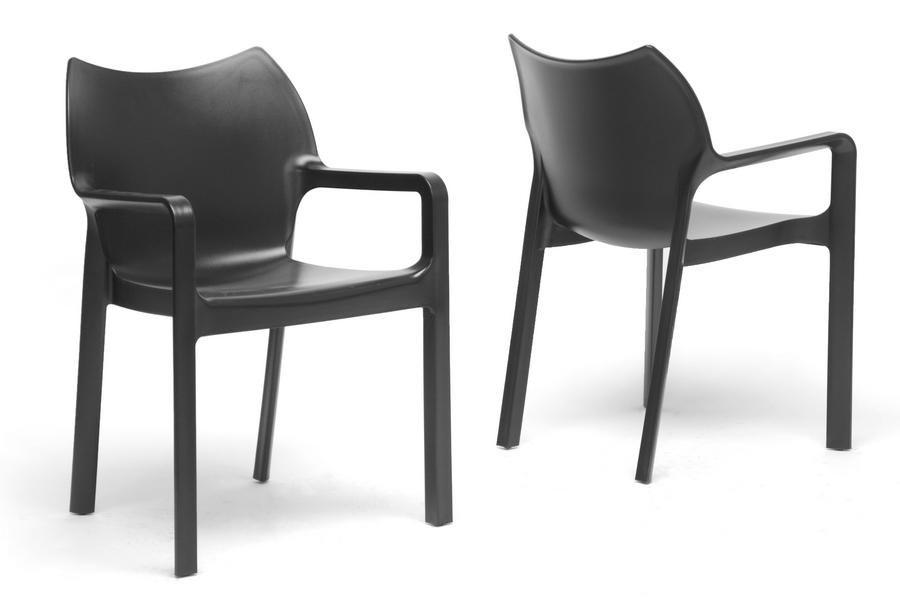 Limerick Black Plastic Stackable Modern Dining Chair Set Of 2 Wl