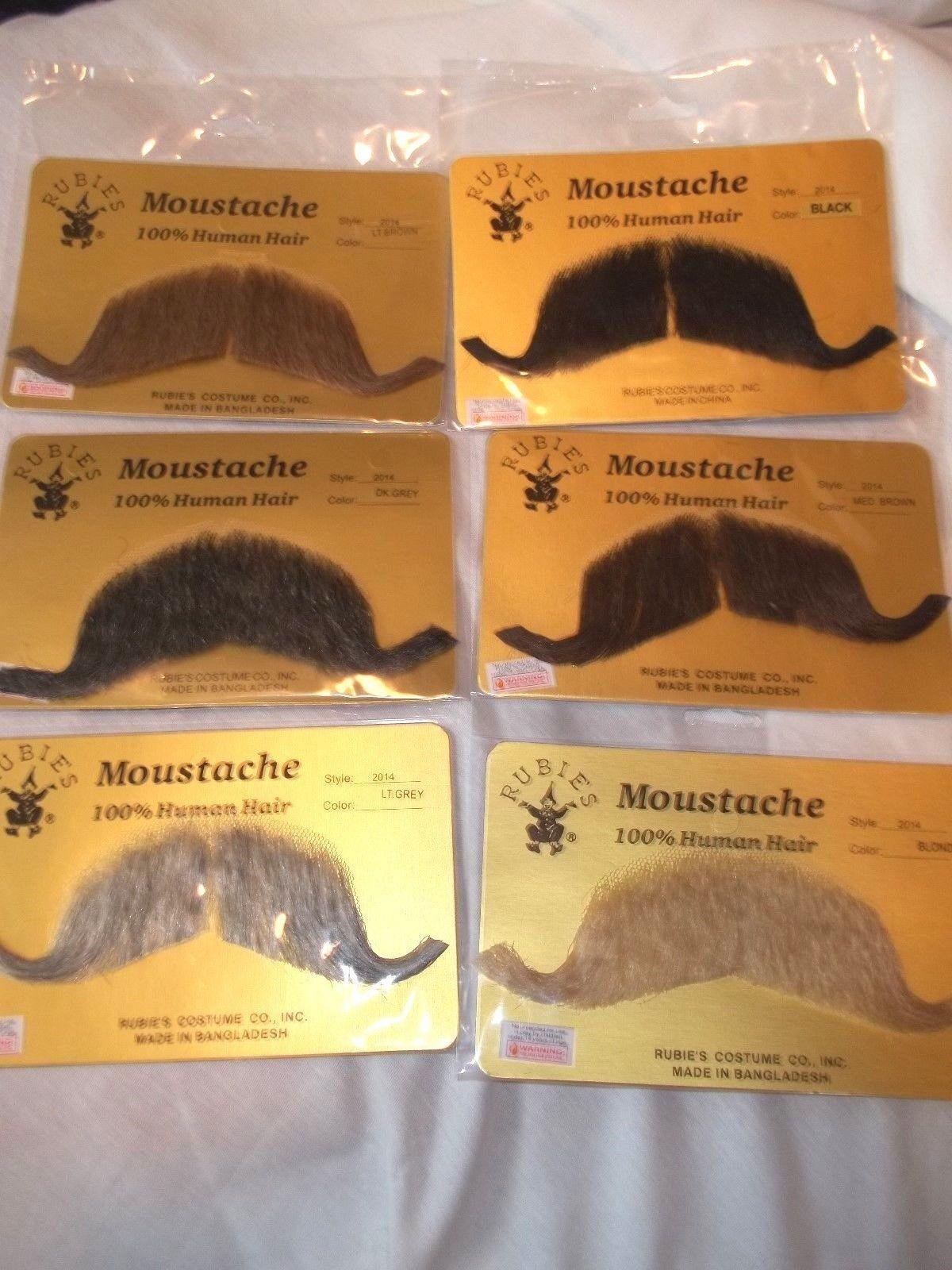 Moustache Human Hair Professional Rubies # 2013 Greys Browns Bld Blk Handlebar