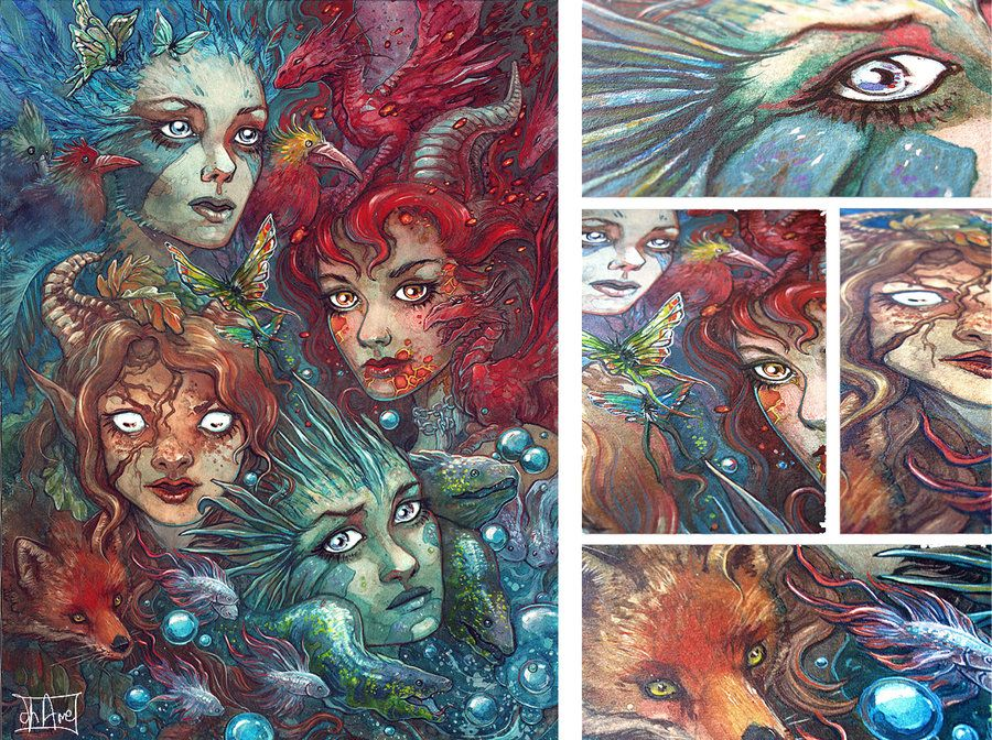 Art Elements Of Painting : Four elements traditional by morgan chane.deviantart.com on
