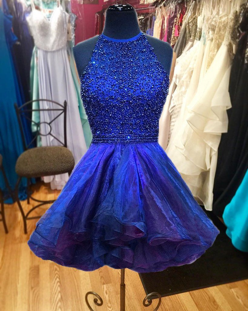 Beaded halter prom gownsroyal blue homecoming dresses dresses