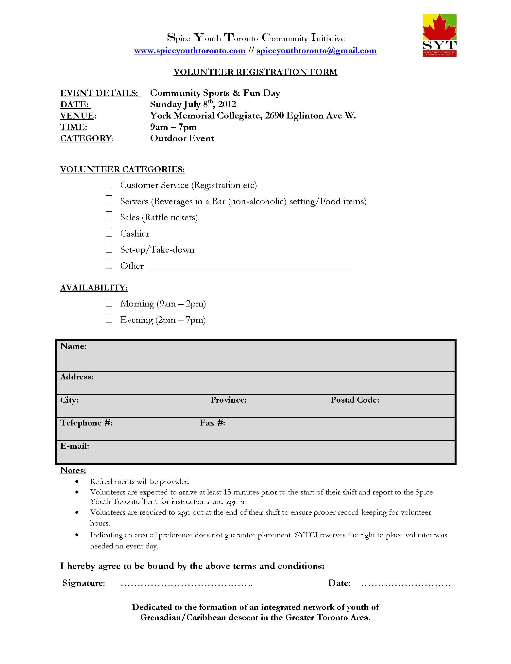 Volunteer Application Form High School Hours Available  Sytci