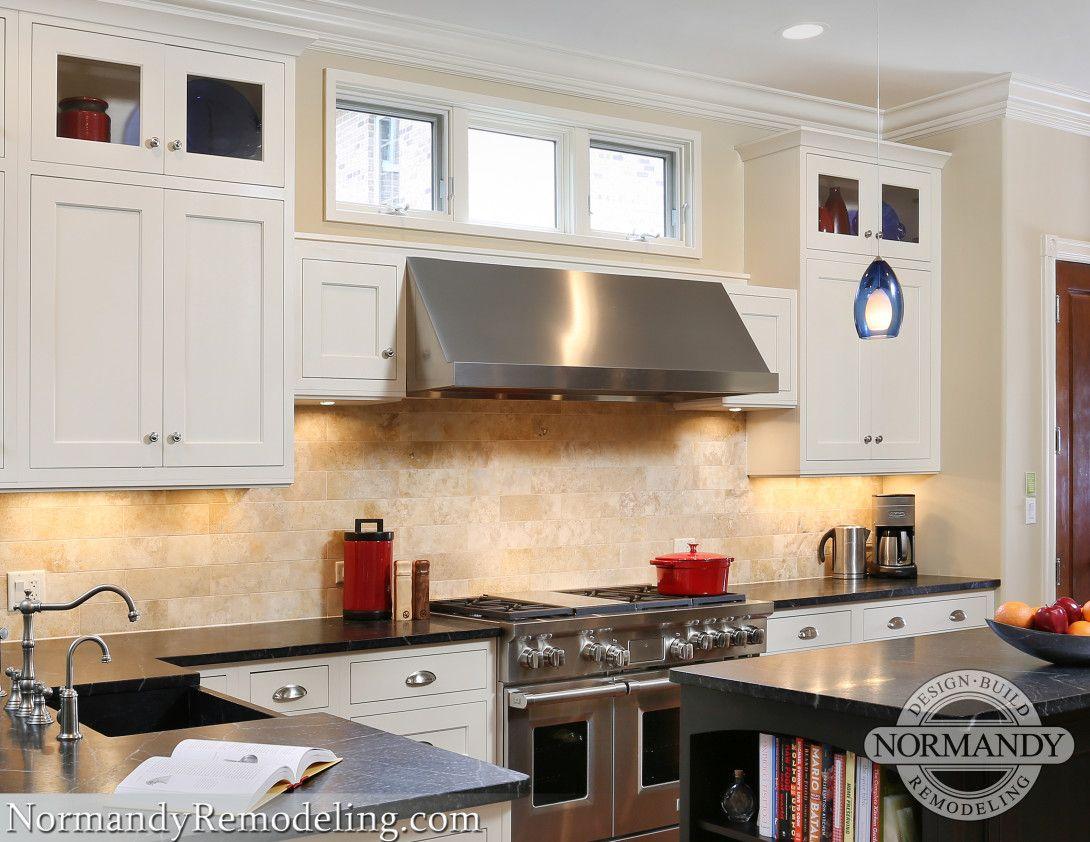 Three Windows Centered Above The Range Hood Above Kitchen Cabinets Kitchen Remodel Kitchen Design