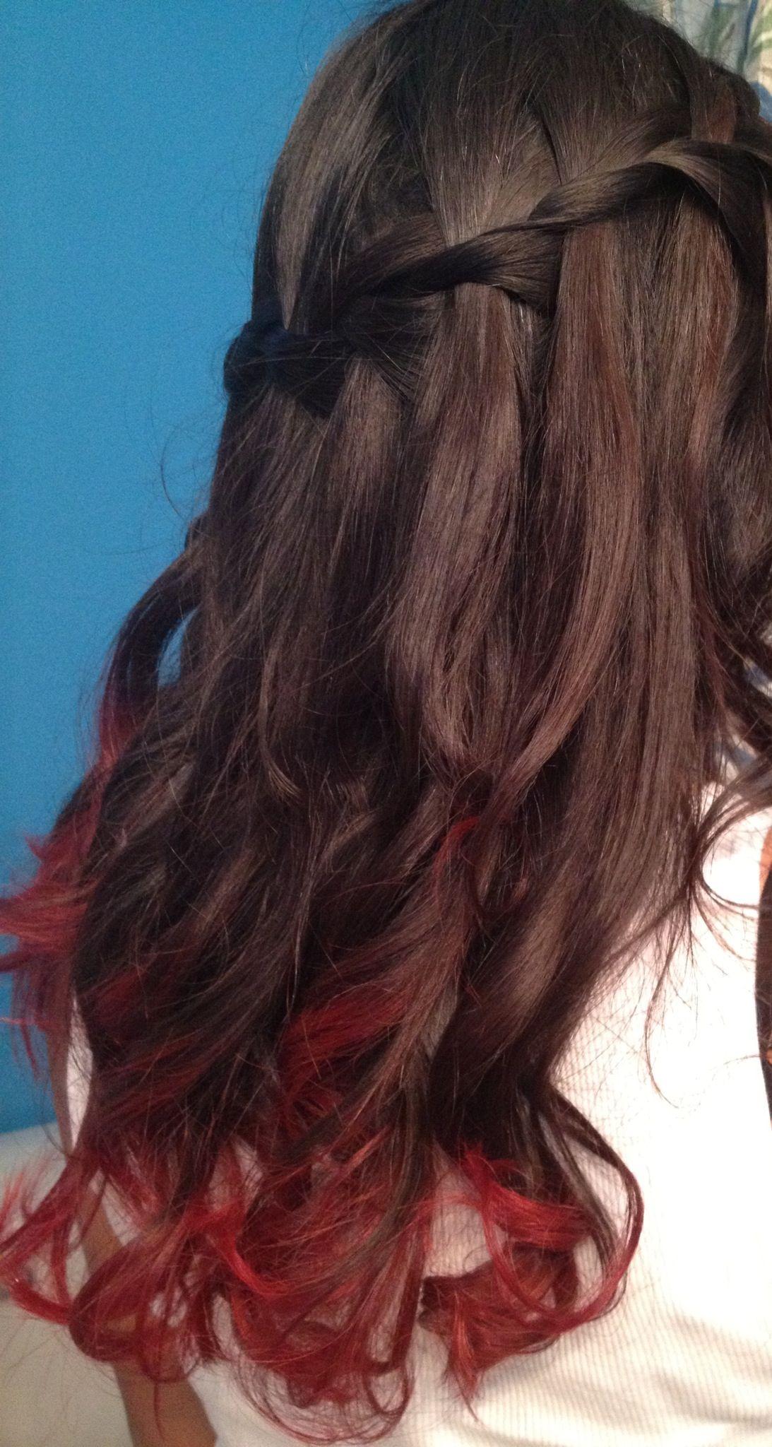 Red Dip Dye And Waterfall Braid Hair In 2019 Dip Dye