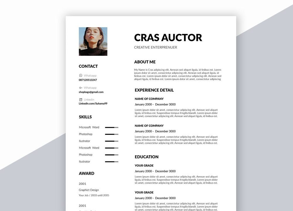 Creative Free Resume Template In Word Format Download Resumekraft Cv Template Word Cv Words Creative Cv Template