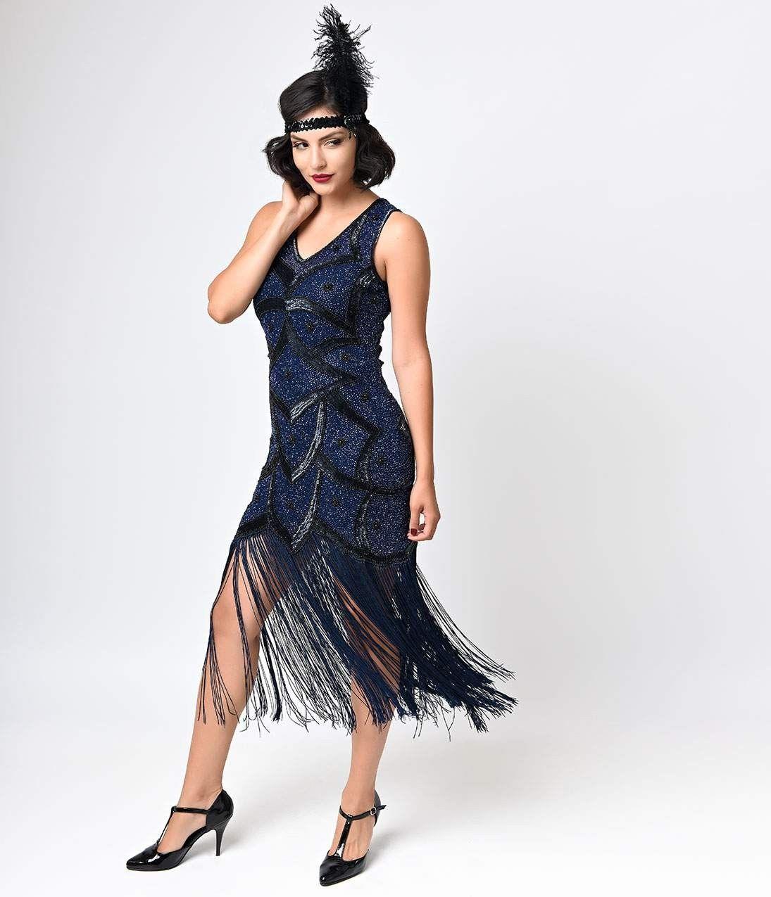 Iconic_by_UV_Black_Blue_Beaded_Mesh_Isadora_Fringe_Flapper_Dress_3.jpg (1095×1275)
