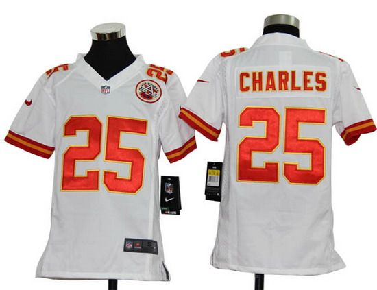 Nike Chiefs  25 Jamaal Charles White Youth NFL Game Jersey  6fcbccf03