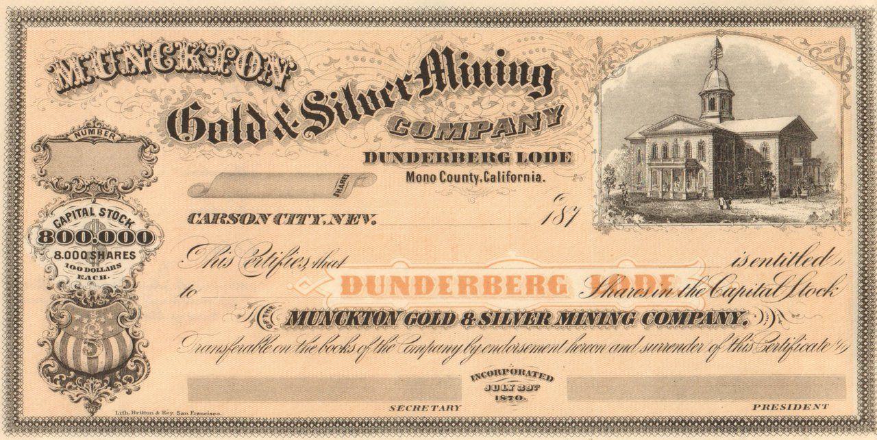 Munckton Gold And Silver Mining Company Stock Certificate Circa 1870