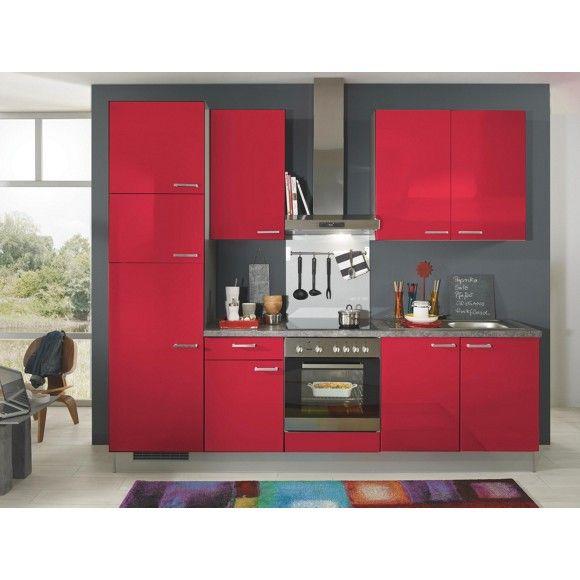 Roter küchenblock von xora auch in kleinen räumen ein highlight
