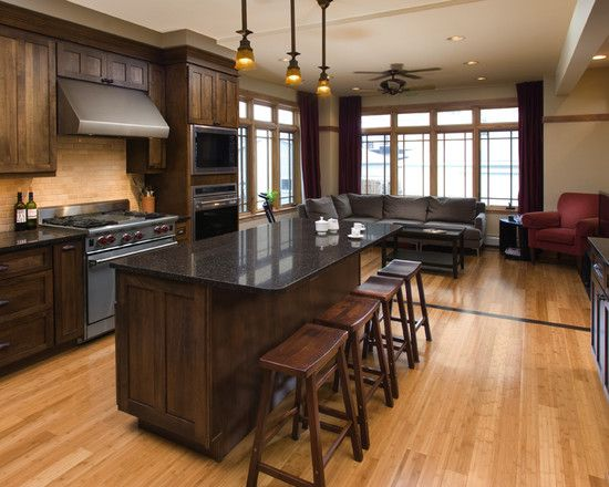 Dark Stain Kitchen Cabinets Design Pictures Remodel Decor And Ideas Hardwood Floors In Kitchen Wood Floor Kitchen Stained Kitchen Cabinets