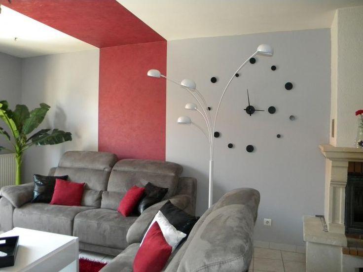 Awesome déco salon aménagement deco salon gris blanc rouge