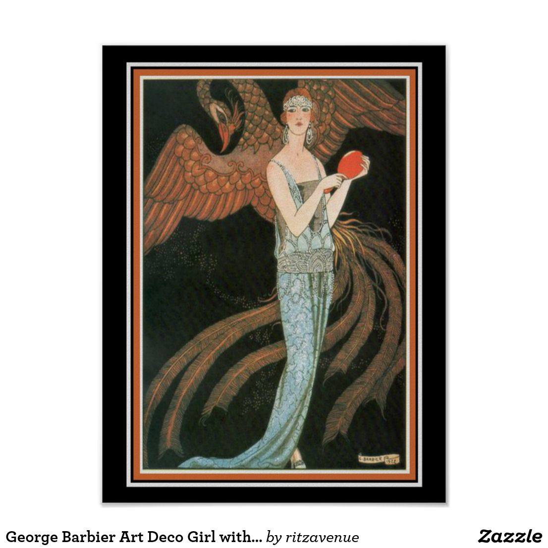 George Barbier Art Deco Girl With Peacock 12 X 16 14