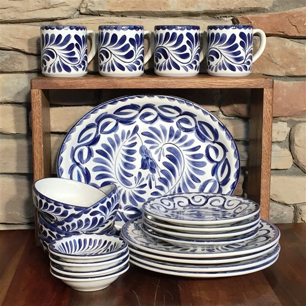 Puebla Hand Painted Dinnerware Set from Anfora & Puebla 21 pc dinnerware set - blue only | Mexican designs ...