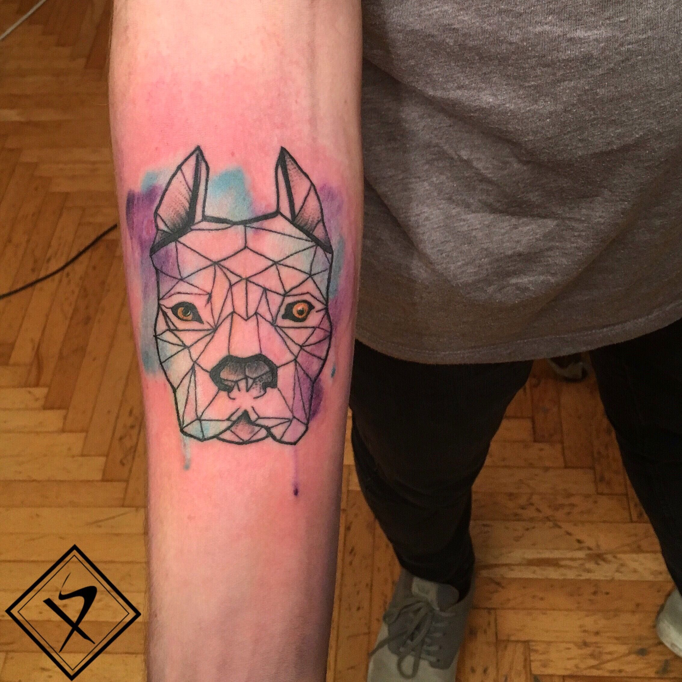 Dog Tattoo Pitbull Watercolor Geometric Tattoo Tattoos