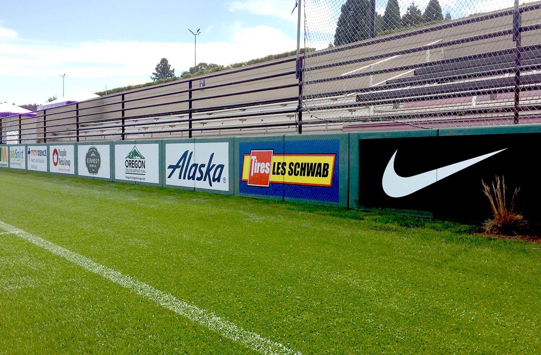University Of Portland Stadium Signage Graphics Visualmerchandising Pointofpurchasedisplay Creativeprint Retailgraphics Signage Stadium University