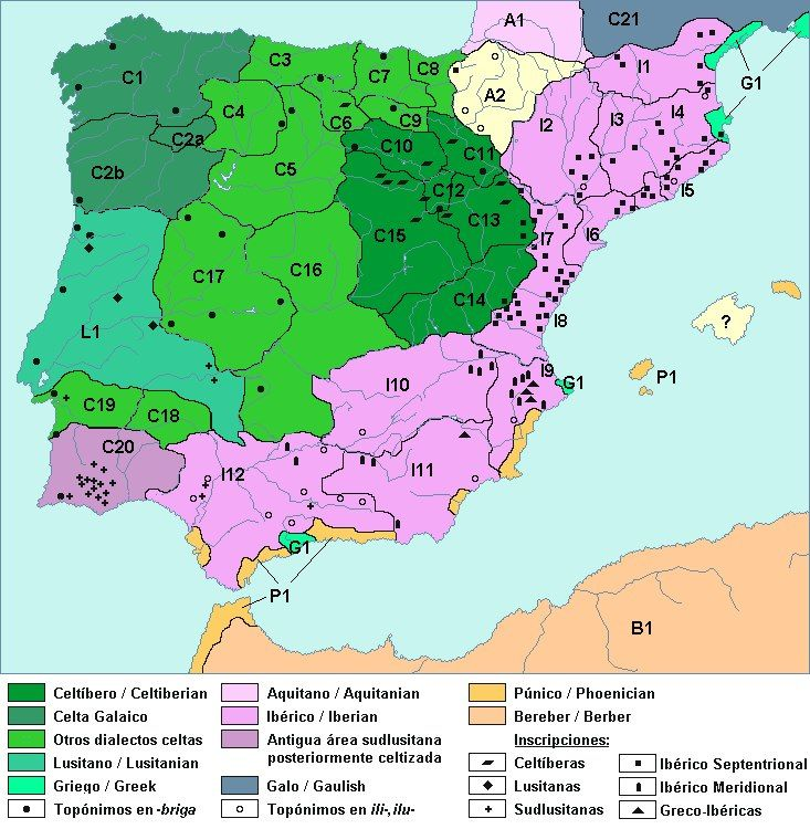La Península Ibérica y sus pueblos prerromanos, según la lengua ...