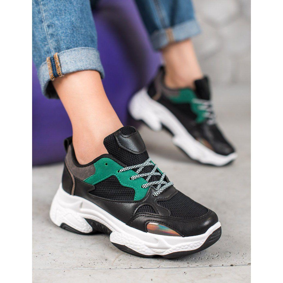 Shelovet Czarne Sportowe Sneakersy Oxford Ayakkabi Oxford Ayakkabilar