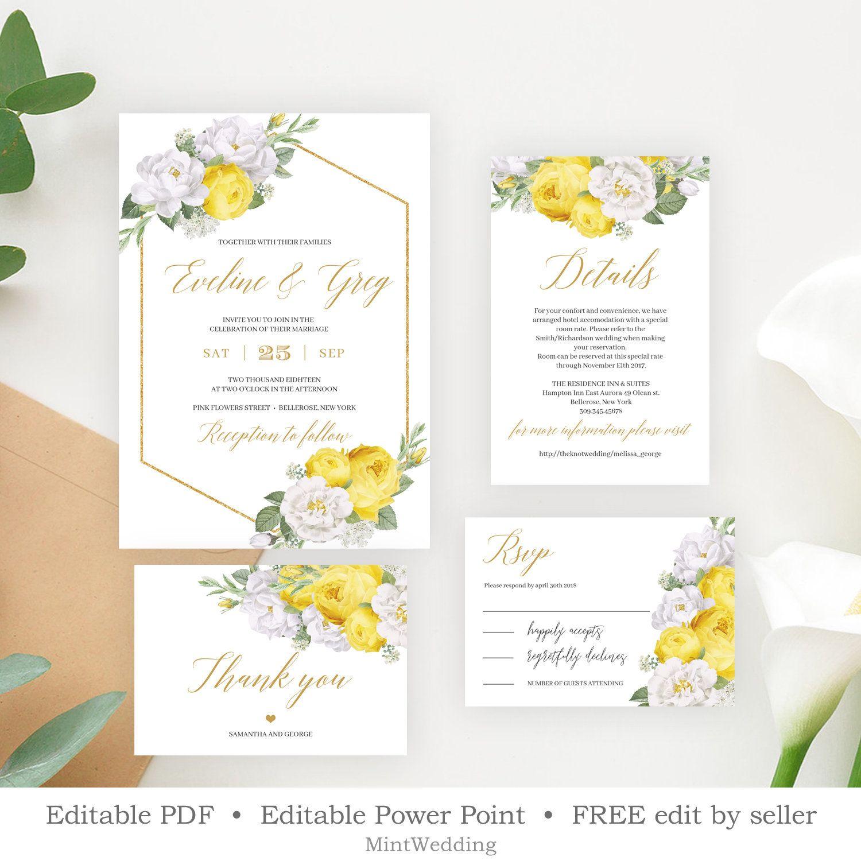 Yellow Wedding Invitation Set Template Printable White Floral Wedding Invite Yellow Floral Wedding Invitations Yellow Wedding Invitations Yellow Invitations